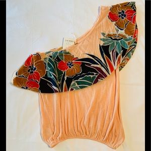Free People Annika One Shoulder Floral Bubble Top